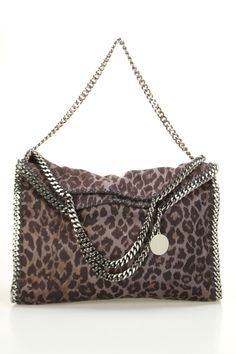 Stella Mccartney Falabella Shaggy Deer Fold Over Tote In Gray & Black