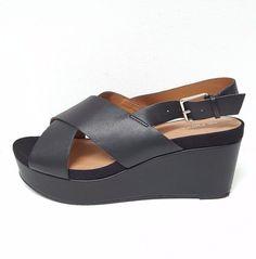 NEXT Ladies Leather Wedge Platform Party Sling back Sandals Shoes Size 5 Black #NEXT #Slingbacks