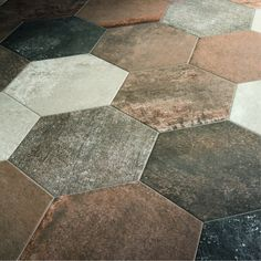 Hexagonal Tile Floor Effect Terracotta Stone Combo Natural, Patchwalk ASCOT by sophieguttuso Dream Home Design, House Design, Floor Design, Mini Loft, Stone Facade, Stone Bathroom, Kitchen Utilities, Hexagon Tiles, Stone Work