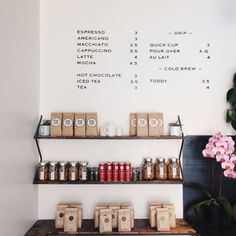 I love this coffee menu on the wall. So simple.
