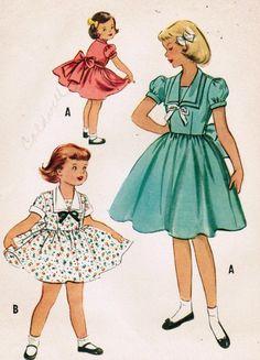 Vestido de fiesta talla costura Vintage 9270 patrón niña de los años cincuenta McCall 6
