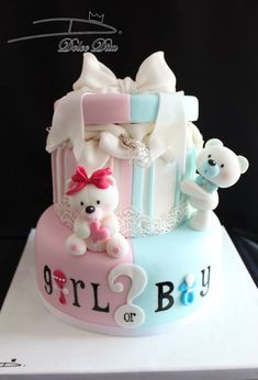 Teddy bear gender reveal cake. www.rathersplendid.co.uk