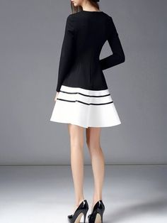 Black-white Cotton-blend Long Sleeve Color-block Crew Neck Midi Dress