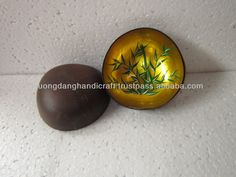 tablewares bowl coconut-shell, metallic yellow lacquer, coconut Vietnam wholesales traditional bowl