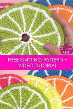 [orginial_title] – Studio Knit – Best Knitting Patterns Knit Fruit Citrus Slice Dishcloth Brightening my kitchen with fruit designs! Learn How to Knit Fruit Citrus Slices with Easy Free Pattern + Knitting Video Tutorial with Studio Knit Dishcloth Knitting Patterns, Crochet Dishcloths, Knitting Stitches, Knitted Dishcloth Patterns Free, Crochet Patterns, Knitting Videos, Easy Knitting, Knitting Projects, Easy Sewing Patterns
