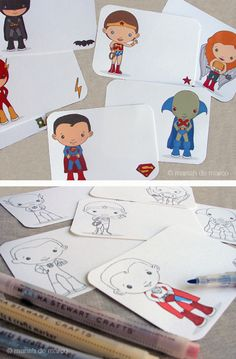 Adorable free superhero printables from mariah demarco. Pre-colored or ready for you to do it.