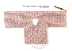 How to make a Crochet Baby Kimono- Pattern & Step by Step Tutorial Kimono Pattern Free, Crochet Baby Cardigan Free Pattern, Gilet Crochet, Crochet Jumper, Crochet Jacket, Baby Knitting Patterns, Booties Crochet, Jacket Pattern, Sewing Patterns