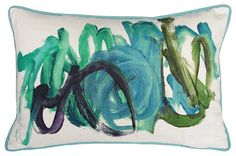 Kevin O'Brien Studio Finger Paint Blue Green Decorative Pillow - contemporary - pillows - Pure Home...... finger painted pillow, fun & easy diy!