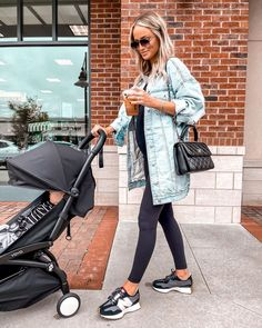 Fall Winter Outfits, Summer Outfits, Oversized Denim Jacket, Coffee Love, Distressed Denim, New Balance, Baby Strollers, I Shop, Coat