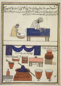 vintage illustration of indigo dying techniques