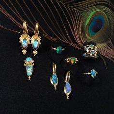 Australian Yowah Opal & Diamond Earrings on Yellow Gold Hoops Opal Diamond Earring Jackets Fine Handmade Jewelry Opal Jewelry, Crystal Jewelry, Jewelry Sets, Gold Hoops, Gold Hoop Earrings, Diamond Earrings, Diamond Quartz, Herkimer Diamond, Diamond Earring Jackets
