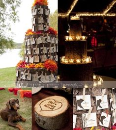 This is an awesome idea for table assignments a 3 tier wooden cake with adorable cards telling guests their table