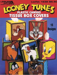 Free Plastic Canvas Craft Pattern to down load | Looney Tunes Plastic Canvas Tissue Box Covers Craft Pattern Leaflet ...
