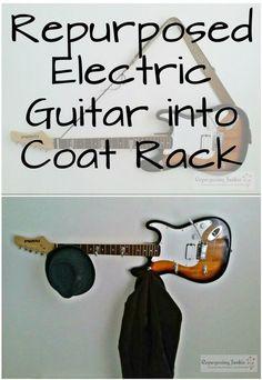 Repurposed Electric Guitar into Coat Garment Hat Rack Holder