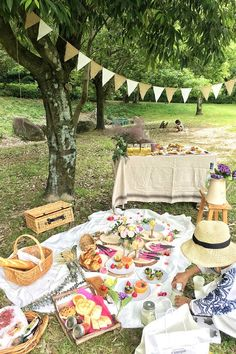 Picnic celebrations complete with decorations and a wonderful spread of delicious picnic food Garden Picnic, Backyard Picnic, Beach Picnic, Summer Picnic, Backyard Birthday, Picnic Birthday, Picnic Party Decorations, Picnic Parties, Outdoor Parties