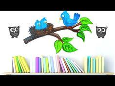 MOM BIRD/EASY WALL ART FOR BEGINNER /wall art practicing/wall art tutorial/wall decor for beginners/ - YouTube Simple Wall Art, Easy Wall, Wall Decor, Bird, Mom, Youtube, Crafts, Wall Hanging Decor, Manualidades