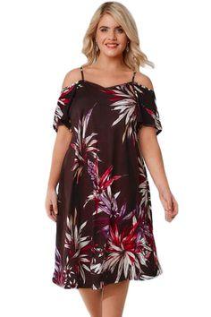 BIG n BEAUTIFUL Brown   Multicolor Floral Cold Shoulder PlusSize Dress cf2e82b11f7b