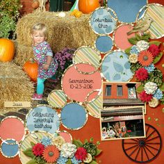 Tessa with the pumpkins. Celebrating my son's birthday in Germantown, Oct. 2016. Kit used: Togetherness by Aimee Harrison Designs Kit link: http://www.gottapixel.net/store/product.php?productid=10031212 Template used: Circles of Love 5d by Heartstrings Scrap Art