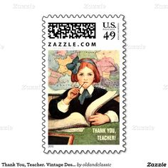 Teacher Appreciation Day / Teacher Appreciation Week / Graduation / Thank You Teacher Vintage Design Postage Stamps  for Teachers with a vintage magazine illustration, in the oldandclassic store at zazzle.com