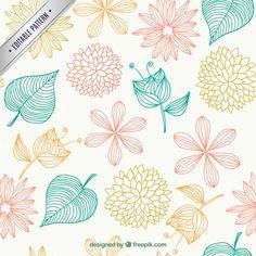 Teste padrão floral em estilo esboçado Vetor grátis
