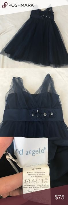 """NWOT Alfred Angelo Ink Blue Tulle Dress Dark navy blue ink color. Never wore. Embellished on waist with Floral detail. Very elegant and delicate fabric. Tulle overlay on shoulders. 38"""" length. Bridesmaid, formal or black tie dress. Bundle 2+ items and get my 20% off bundle discount. Alfred Angelo Dresses Midi"""