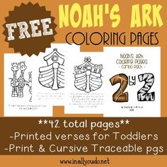 Noah's Ark is a wonderful story of God's promise to mankind. Help kids learn more with these coloring pages, emergent readers & mini flip book! Bible Crafts For Kids, Preschool Bible, Kids Bible, Preschool Themes, Noahs Ark Theme, Noahs Ark Craft, Noahs Arc, Lessons For Kids, Bible Lessons