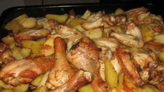 Potatoes with chicken in the oven Chicken Potato Bake, Chicken Potatoes, Oven Recipes, Chicken Recipes, Cooking Recipes, Russian Recipes, Italian Recipes, Grilled Chicken, Baked Chicken