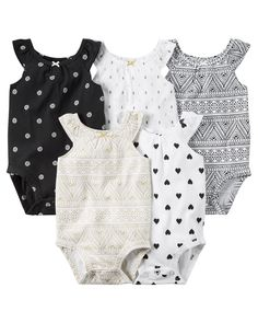 With flutter straps and super cute prints, these bodysuits are the perfect starters for all of her outfits.