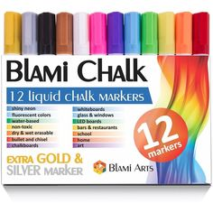 Chalk Markers with extra gold and silver ink from Blami Arts. Set of... ($12) ❤ liked on Polyvore featuring home, home decor, office accessories, bullet pen, neon chalk, neon chalk markers, neon markers and bullet shaped pen