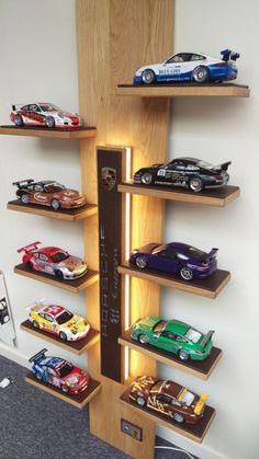 Porsche Unique Wall Unit for model cars Hot Wheels Storage, Toy Car Storage, Hot Wheels Display, Automotive Furniture, Automotive Decor, Diy Furniture, Toy Shelves, Display Shelves, Chambre Hotwheels