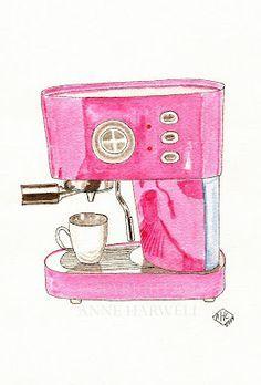 """Raspberry Sherbet"" colored Espresso Maker Food Illustrations, Illustration Art, Fashion Illustrations, I Love Coffee, Coffee Time, Coffee Corner, Coffee Latte, Espresso Coffee, Coffee Break"