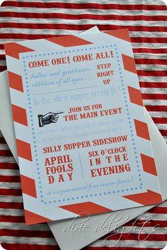 April Fools dinner printables- and cute dinner idea!