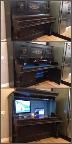 compartments for security systems /Hidden compartments for security systems / Dishfunctional Designs: The Salvaged & Repurposed Piano becomes a multi-computer desk. Piano Bar Turn an old piano into a desk!