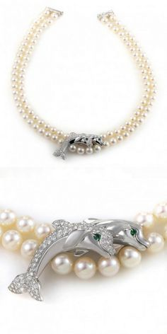 Cartier Double Strand Pearl & 18K White Gold Diamond Dolphin Necklace