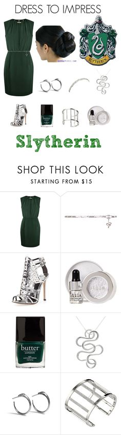 """Dress To Impress (Slytherin Edition)"" by ubiquitous-merkaba ❤ liked on Polyvore featuring Paisie, Venom, B Brian Atwood, Stila, Butter London, Carolina Glamour Collection, Rachel Entwistle, Michael Kors and Deepa Gurnani"