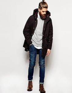Shop this look on Lookastic:  http://lookastic.com/men/looks/longsleeve-shirt-crew-neck-sweater-parka-skinny-jeans-brogue-boots/6287  — White Long Sleeve Shirt  — Grey Crew-neck Sweater  — Black Parka  — Navy Skinny Jeans  — Brown Leather Brogue Boots