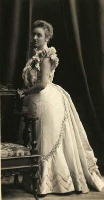 Fashionable evening attire, 1870s
