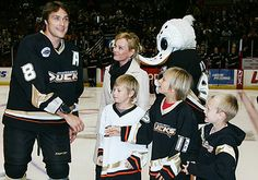 "Teemu Selanne with his sons, ""The Finnish Flash"" (born July 3, 1970) is a Finnish professional ice hockey winger for the Anaheim Ducks of the National Hockey League (NHL)."