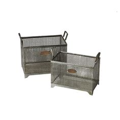 """Keating Storage Basket (Set of 2) - Industrial Elements on Joss & Main. Iron storage baskets with bronze nameplate tags. Small size: 11.75""""H x 15.375""""W x 11.75""""D. Large size: 13.75""""H x 16.5""""W x 13.5""""D. These storage baskets are great for storing and organizing all kinds of things and they look great too!"""