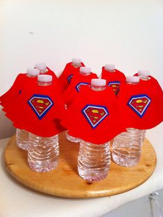 Superman Cape Water bottle decorations for a Super Hero Themed Birthday Party or Baby Shower on Etsy, $20.00