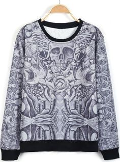 Black Long Sleeve Skull Print Loose Sweatshirt US$32.46