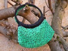 ROUND HANDLED HANDBAG emerald green velour with black by TatiAnge,