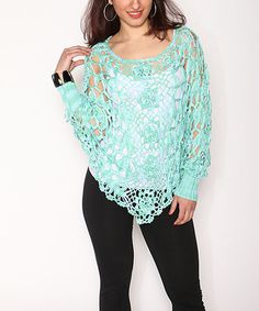 da758ac5bcf Love this Mint Crochet Cape-Sleeve Sweater - Plus by Shoreline on  zulily!