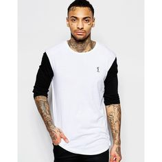 Religion Exclusive Long Sleeve Top with Contrast Sleeves In Longline (24 CAD) ❤ liked on Polyvore featuring men's fashion, men's clothing, men's shirts, men's t-shirts, white, mens longsleeve shirts, mens longline t shirt, mens long sleeve cotton shirts, mens crew neck t shirts and mens white shirt