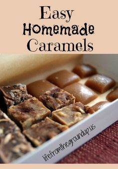 Basic Homemade Caramels (corn syrup free) Ingredients 2 cups sugar 2 cups heavy cream 6 Tbsp butter 1 cup raw honey Splash of vanilla extract 2 pinches of sea salt Candy Recipes, Sweet Recipes, Whole Food Recipes, Dessert Recipes, Cooking Recipes, Dessert Ideas, Healthy Recipes, Homemade Candies, Homemade Caramels