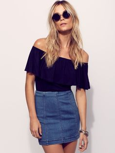 First Date Outfit Inspiration: Free People Womens Modern Femme Denim Mini ($50)