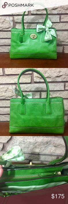 Green Coach Bag Beautiful green Coach bag with green Coach scarf. 13in across seam to seam or 17in lying flat, 9in tall. It has buttons on the sides to connect to make smaller or larger. Coach Bags Shoulder Bags