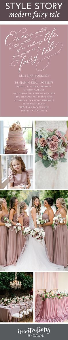 """Style Story: Modern Fairy Tale. Scoot over Cinderella! The team at Invitations by Dawn shows you how to pull off a modern fairy tale wedding that's draped in beautiful mauve hues. The entire theme for this wedding-day style is built around one simple quote: """"once in the middle of an ordinary life, love gives us a fairy tale."""" Royal Wedding Invitation, Bridesmaid Dresses, Wedding Dresses, Fashion Story, On Your Wedding Day, Up Hairstyles, Mauve, Wedding Colors, Dawn"""