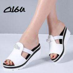 Global Online Shopping for Apparel, Phones, Computers, Electronics, Fashion and more on AliExpress Women Sandals Shoes Women Flat Platform Sandals Shoes Beach slip-on round toe Leather Fashion Wedge Mules Shoes Summer Flat Platform Sandals, Shoes Flats Sandals, Mules Shoes, Wedge Shoes, Trendy Womens Shoes, Womens Flats, Leather Fashion, Fashion Shoes, Beach Shoes