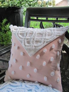 Chenille pillow - great idea for those old spreads you can no longer use